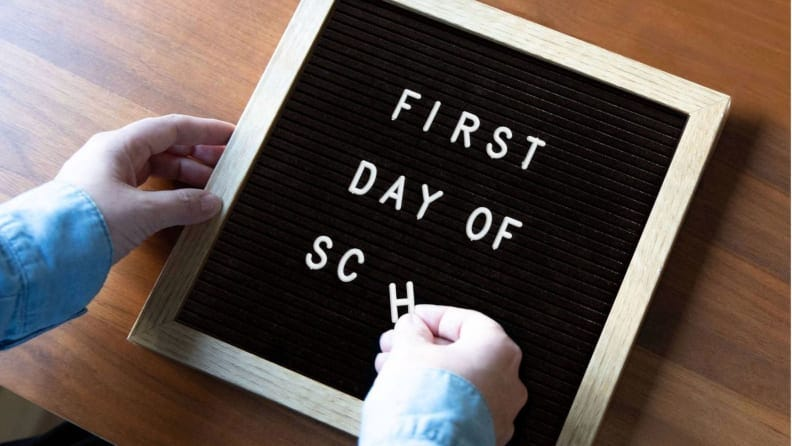 This throwback letter board-style sign makes for nostalgic photos.