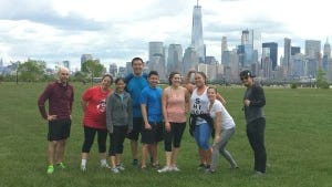 Samson Huang (far right) led a Sunday morning outdoor workout. (Photo by Christine Huang)