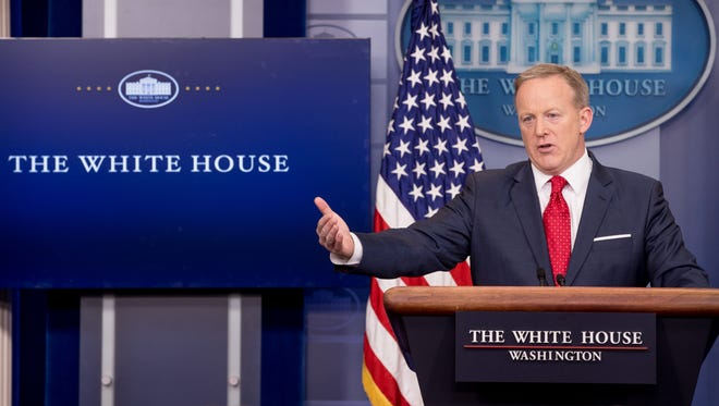 White House press secretary Sean Spicer talks to the media during the daily press briefing at the White House on May 3, 2017.