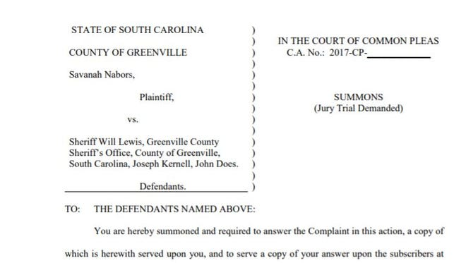 Savannah Nabors, a former staffer at the Greenville County Sheriff's Office, is suing Sheriff Will Lewis.