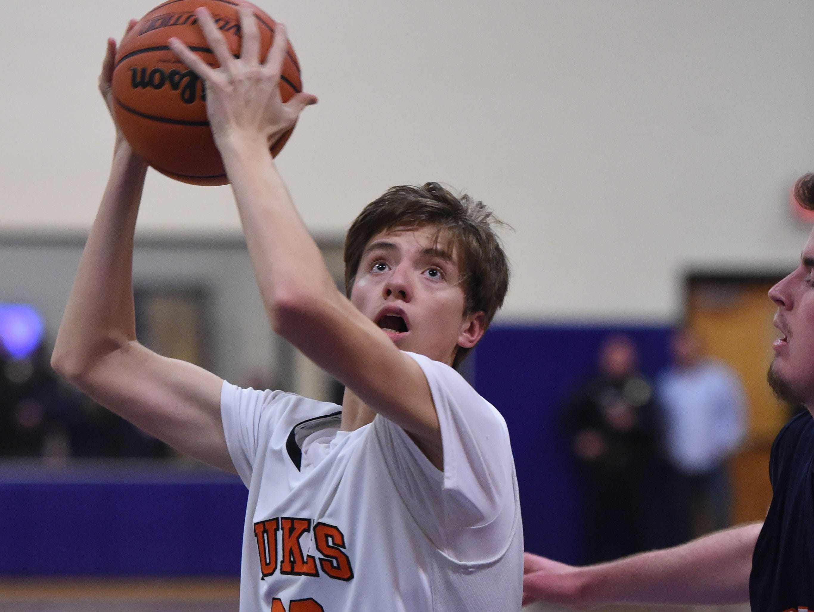 Marlboro High School's Jack Rusk makes a move to the hoop against Briarcliff during a Class B regional semifinal at Mount Saint Mary College in Newburgh on March 2.
