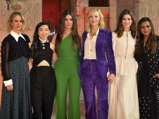 "The ""Ocean's 8"" team poses on May 22, 2018, in New"