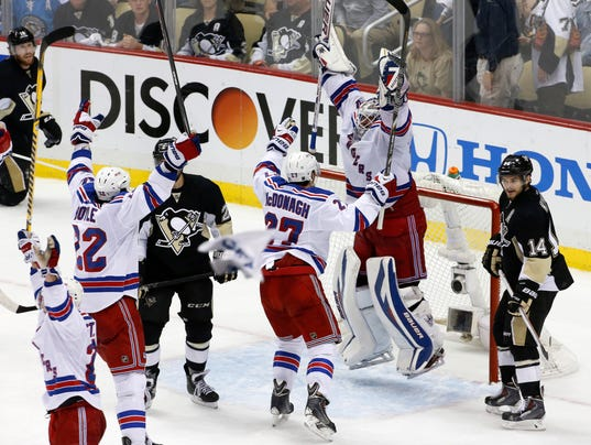 APTOPIX Rangers Penguins Hockey