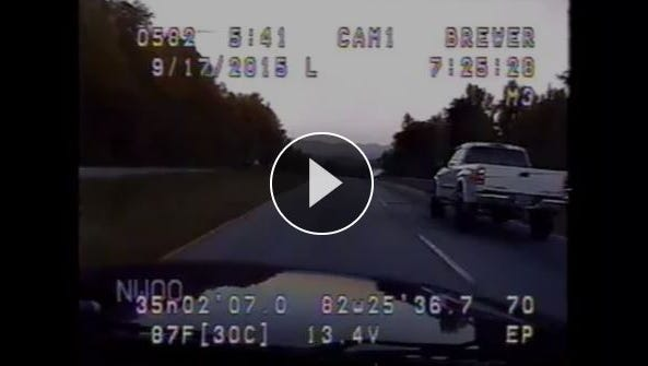Dash-cam footage of the high-speed pursuit down U.S. 25 on Sept. 17, 2015.