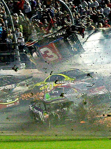 Austin Dillon's car (3) slams against the catchfence