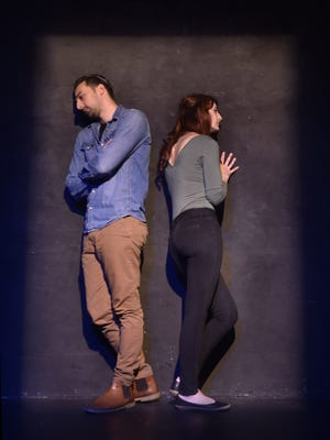 "NIck Narcici and Elodie Senetra are in a ""bed"" created by lighting in a rehearsal scene from the Third Avenue Playhouse production of ""Lungs."""