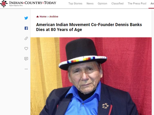 Vincent Schilling's obituary of American Indian Movement
