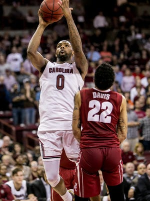 South Carolina guard Sindarius Thornwell (0) scored 44 points against Alabama, but the Gamecocks lost in four overtimes.