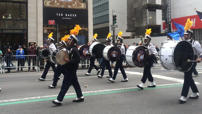 The Marching Cobras of New York, a marching band made up of students from New York City and Westchester County, including students from St. Christopher's in Dobbs Ferry, a school that helps teens with emotional, behavioral and learning disabilities, performed at the St. Patrick's Day Parade in New York City on March 17. The group features percussion, flags, dancers and step dancers and trains five to six days a week.