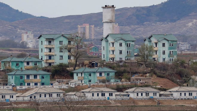 North Korean village of Gijungdong is seen during a press tour from the Taesungdong freedom village inside the demilitarized zone between North and South Korea in Paju, South Korea, on April 24, 2018.