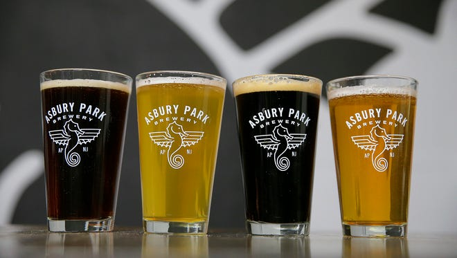 (L-R) Schwartzbier, Blond Lager, Roasted Stout and the XPA at the Asbury Park Brewery in Asbury Park, NJ Wednesday February 15, 2017.