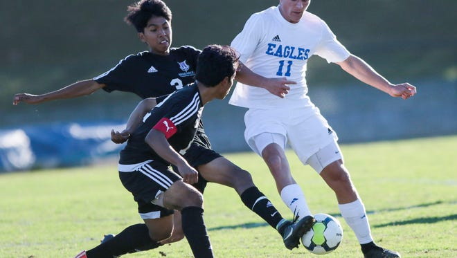 Matthew Woodington (11), shown in second-round action against Walhalla, scored both of Eastside's goals in its 3-2 overtime loss to Chapin Saturday night.