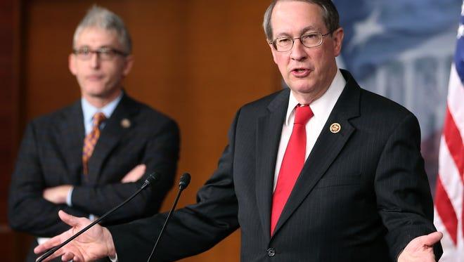 Rep. Bob Goodlatte, R-Va., and Rep. Trey Gowdy, R-S.C.,  speak about immigration during a news conference on Capitol Hill, April 25, 2013 in Washington, D.C.