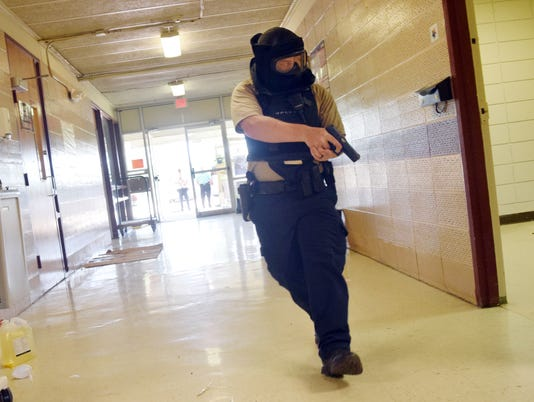 Rapides Parish Sheriff's Office school resource officers received training in an active shooter scenario this week at Slocum Learning Center in Pineville. The training is conducted every summer.