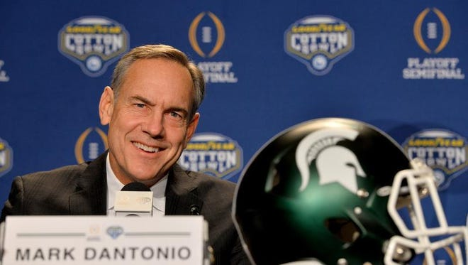 Michigan State head coach Mark Dantonio, speaks to reporters Wednesday at a joint press conference with Alabama head coach Nick Saban at the Omni Hotel in Dallas. The two coaches and their teams will face off Thursday at 7 p.m. in the College Football Playoff semifinal game.