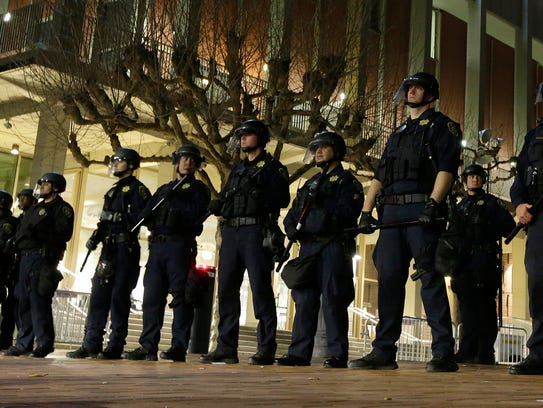 University of California at Berkeley police guard the