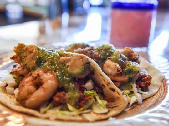 Jefe Gordo tacos, containing shrimp, fried avocado, chorizo and tomatillo sauce sit on the bar at new restaurant El Jefe Gordo in Rehoboth Beach.