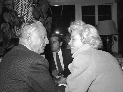 William Powell and Marilyn Monroe in 1954 at Charlie Farrell's Racquet Club.