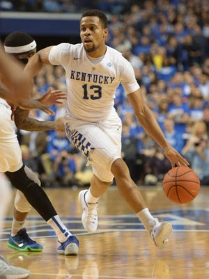 UK's Isaiah Briscoe cuts with the ball during the University of Kentucky basketball game against Florida at Rupp Arena in Lexington, Ky., on Saturday, February 6, 2016