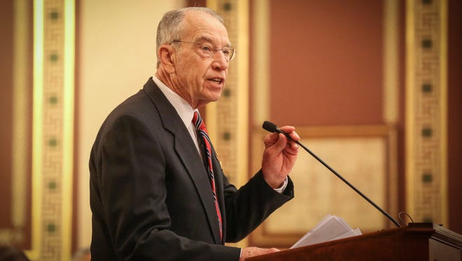 United States Sen. Charles Grassley (R-Iowa) speaks during the Iowa peace officer memorial ceremony on Friday, May 11, 2018, at the rotunda at the Iowa Capitol Building in Des Moines.