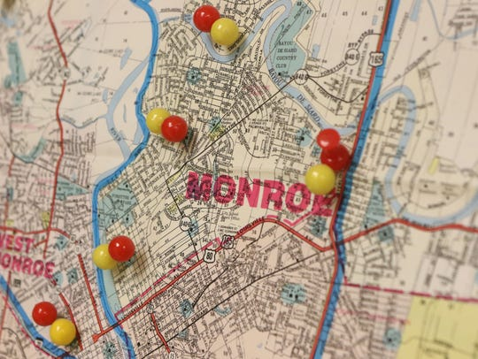 Pins stuck into a map at the Ouachita Parish Mosquito