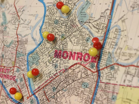 Pins stuck into a map at the Ouachita Parish Mosquito Abatement office represent areas where researchers set traps in April to collect the insects. Population determines where the traps are set. Researchers collect mosquitoes from all over Ouachita Parish.  Thursday, April 28, 2016.