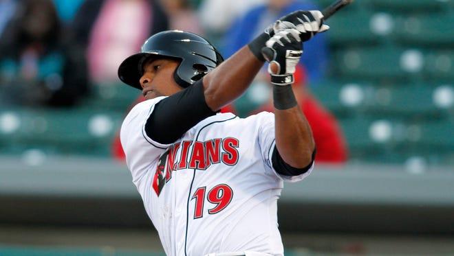 Deibinson Romero hits a home run for the Indianapolis Indians on April 16, 2015.