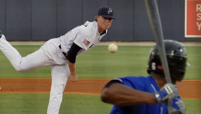 Daniel Wright was the opening pitcher for the Pensacola Blue Wahoos against the Biloxi Shuckers during their game Thursday night in Pensacola.