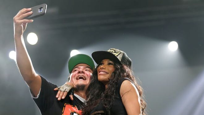 Salt-N-Pepa were among several acts who invited fans to dance along with them onstage, even making time for selfies, during the I Love the '90s Tour on Thursday night at the Resch Center.