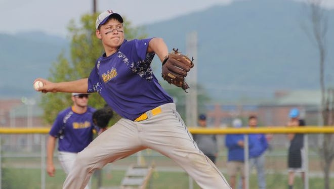 Unioto's Harley Patterson delivers a pitch against Chillicothe last season at Unioto High School. Patterson was the Scioto Valley Conference's Player of the Year and looks to lead a talented pitching staff this season.