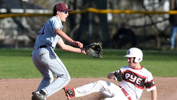 Rye's Jared Olbry (16) steals second as Harrison's
