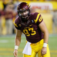 Arizona State Sun Devils tight end Kody Kohl (83) in  their 54-13 win over the Colorado Buffaloes Saturday, Oct. 12,  2013i in Tempe.