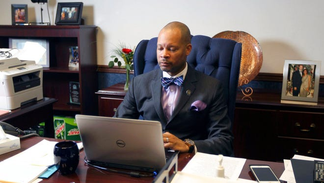 Senate Majority Leader Aaron Ford, D-Las Vegas, in his office in Carson City in February 2017.