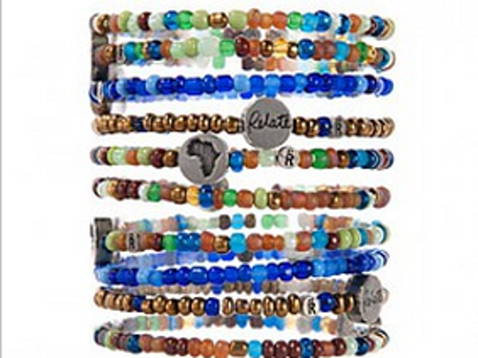 A stack of Relate bracelets.