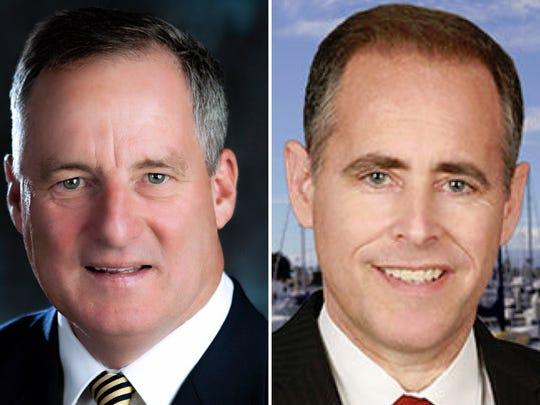 Oxnard Mayor Tim Flynn, left, and recall proponent