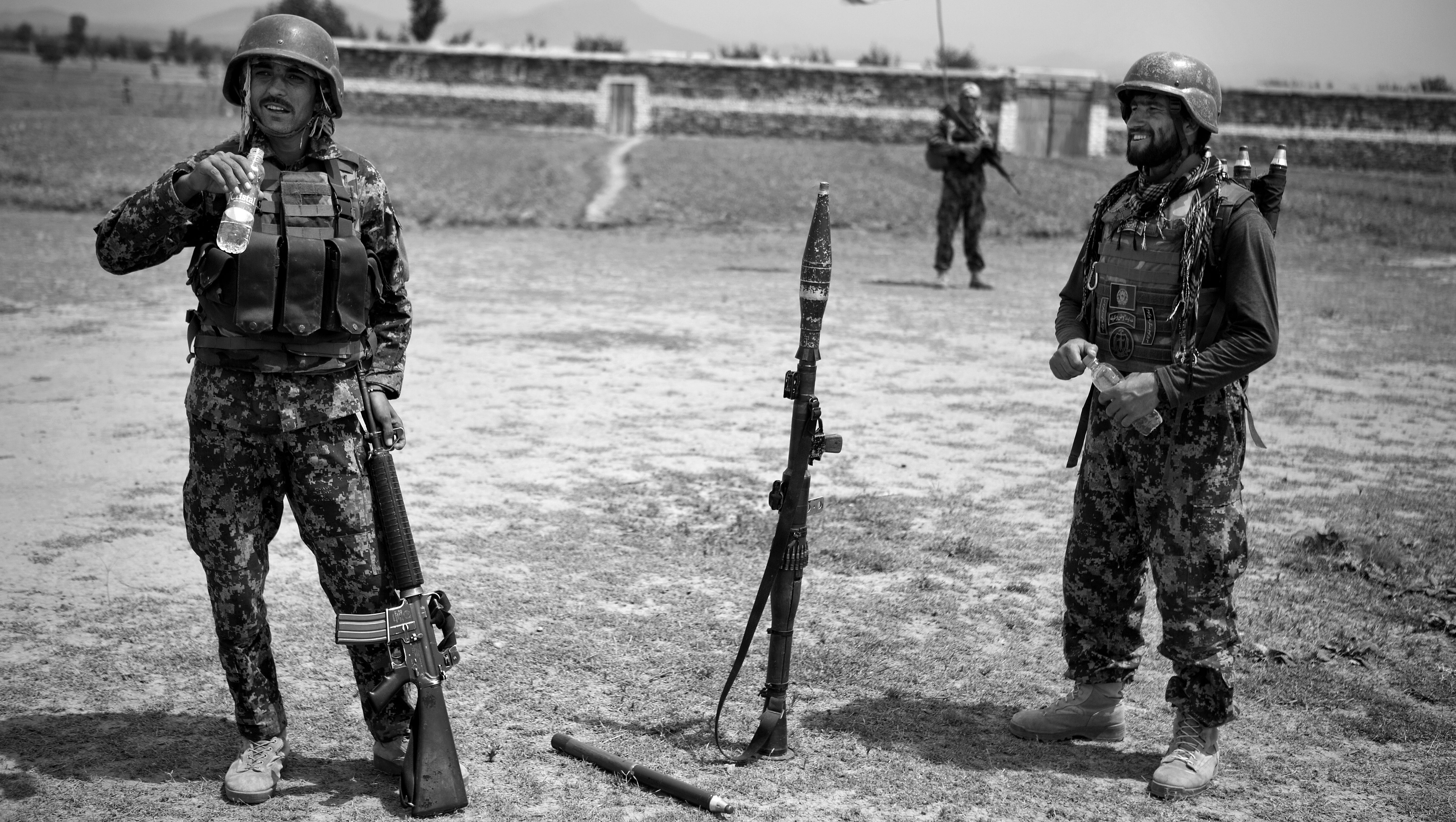 Afghan National Army soldiers pause after a mission in the Sabari district of Khost province.
