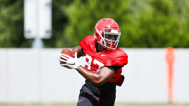 Georgia tight end Tre' McKitty (87) during the Bulldogs' practice session in Athens on Aug. 19.