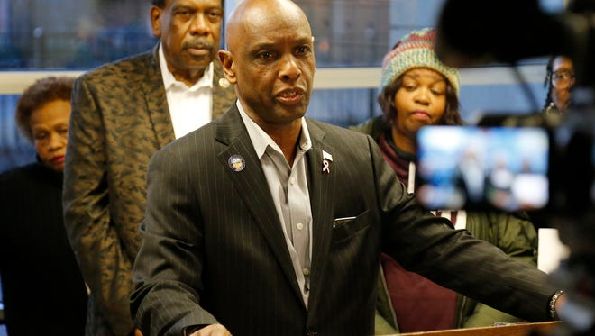 State Senator Cecil Thomas speaks out against the proposed FC Cincinnati stadium location near Taft High School during a press conference at the Stanley Rowe Apartments in the West End neighborhood of Cincinnati on Thursday, Feb. 8, 2018.