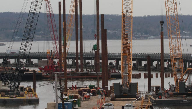 Construction continues on the new Tappan Zee Bridge, shown in this photo taken April 11, 2014 in South Nyack.