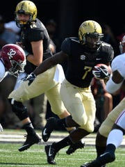 Vanderbilt running back Ralph Webb (7) during the 1st