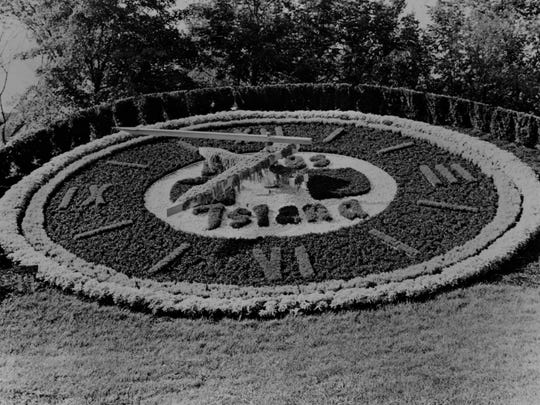 This floral clock at Kings Island, seen here in a photo