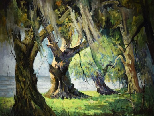 """An oil painting of a Louisiana landscape painted by the late artist Louis G. Sicard, Sr. """"Brushes and Pallet"""" is the latest exhibit at Norton Art Gallery in Shreveport. Open to the public through Feb. 19."""