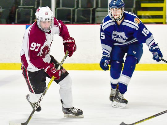 Milford's Daniel Onofrio (97) carries the puck inside