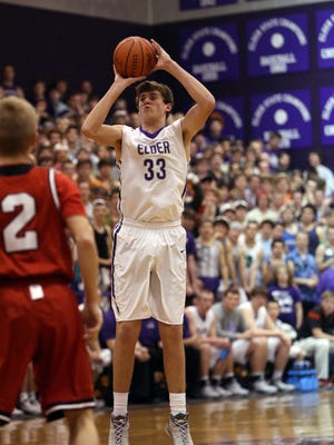 Former Elder basketball player Ryan Custer shoots against La Salle in 2015. The annual West Side Baseball Classic June 3 will benefit the recovery fund of Custer, who was injured April 8.