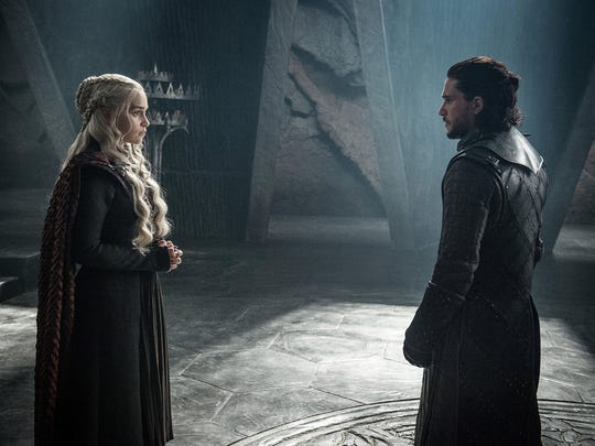 "Daenerys Targaryen and Jon Snow in ""Game of Thrones,"" which has one remaining episode."