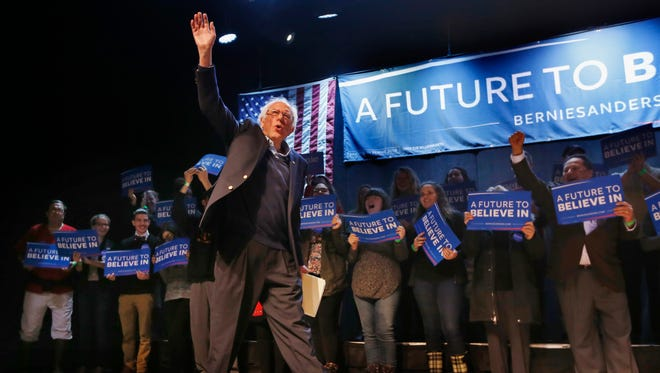 Democratic presidential candidate, Sen. Bernie Sanders, I-Vt. acknowledges applause as he takes the stage at a campaign stop, Wednesday, March 2, 2016, in Portland, Maine. (AP Photo/Robert F. Bukaty)