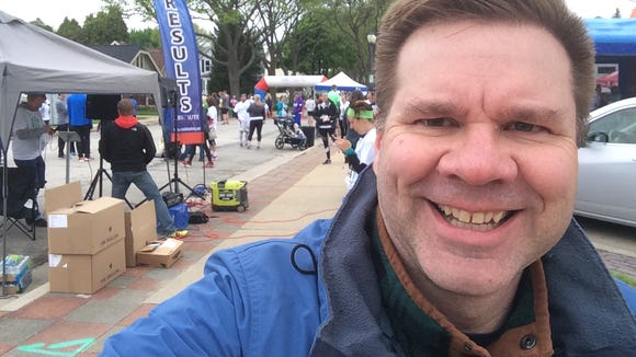 Me, after the Run Tosa Run. I'm smiling because I'm heading to the Rocket Baby Bakery.