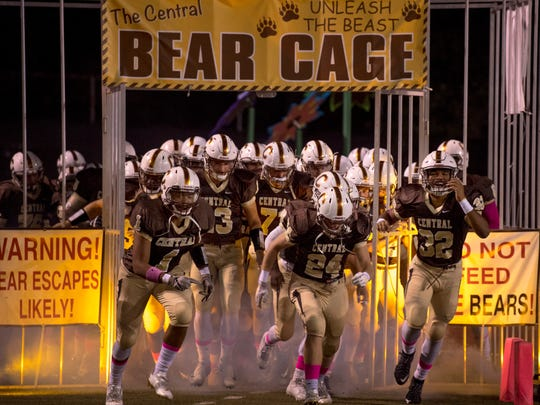 The Central Bears take the field before a 2017 home game.