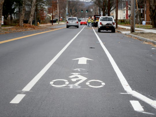 Bicycle lane markings were recently painted on West Water Street in Elmira. The main thoroughfare in Elmira was reconfigured into two lanes of traffic, one parking lane and one bicycle lane over the past several months.