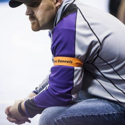 Valier coach Erik Watson wears an armband honoring